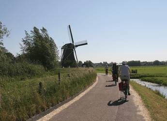 Windmill and cyclist