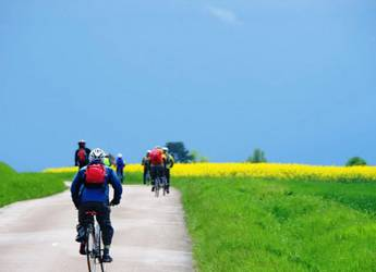 cyclists in countryside Burgundy